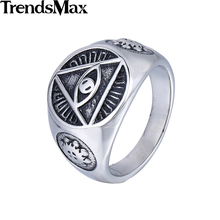 Trendsmax Illuminati pyramid eye symbol Gold-color 316L Stainless steel Signet Ring Mens Jewelry HR365