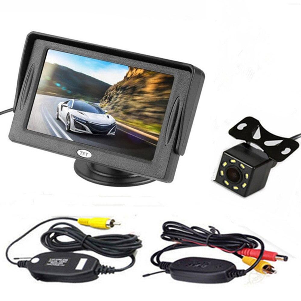 4,3 дюймовый TFT ЖК-цветной экран автомобильный монитор заднего вида парковочная помощь, камера заднего вида опционально - Цвет: With CAM wireless04