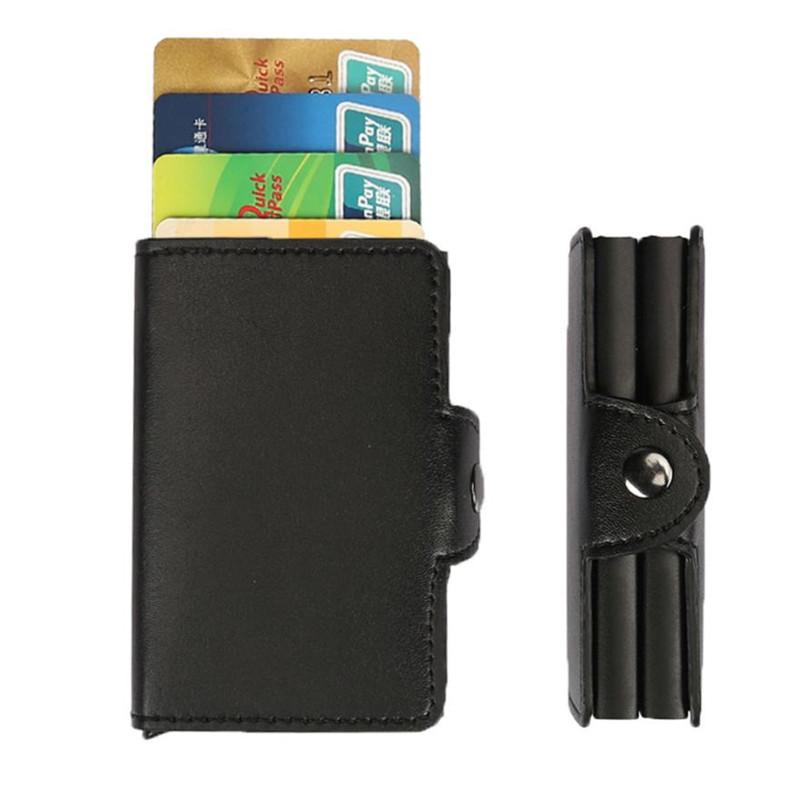 Automatic Credit Card Holder Bank Card Case Protector Double Case Fashion Wallets PU Leather Blocking Slim Mini Wallet Aluminum