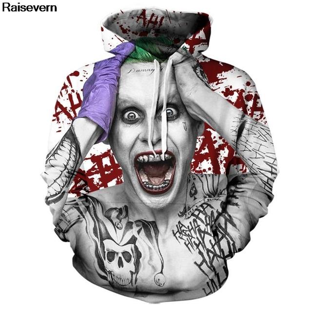 Suicide Squad Joker 3D Printed Hoodies Unisex Long Sleeve Pullover Tops Spring Autumn Sweatshirt Male Tracksuit