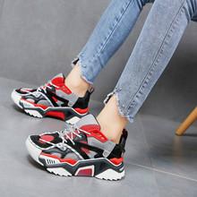 2019 Harajuku White Women's Chunky Sneakers Tenis Basket Women Casual Platform Shoes Cross Tie Dad Sneakers Zapatos Mujer