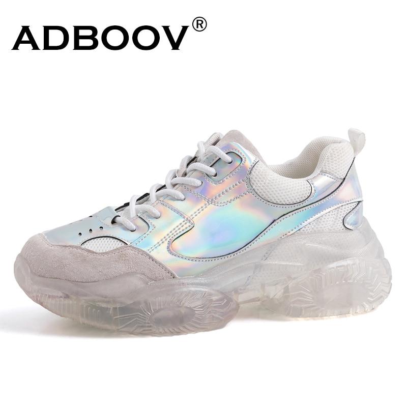 ADBOOV véritable cuir plate-forme baskets femmes semelle transparente Chunky formateurs grande taille dames baskets chaussures Deportivas Mujer