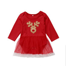 Newborn Infant Baby Girls Christmas Deer Costume Long Sleeve Romper Tutu Dress Party Clothes newborn baby girls infant clothing tutu romper dress headband shoes christmas birthday set m09