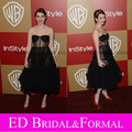 Emma Roberts Vestido de Noche de Longitud de Té 2013 Globos de Oro Negro Warner Brothers Instyle After Party