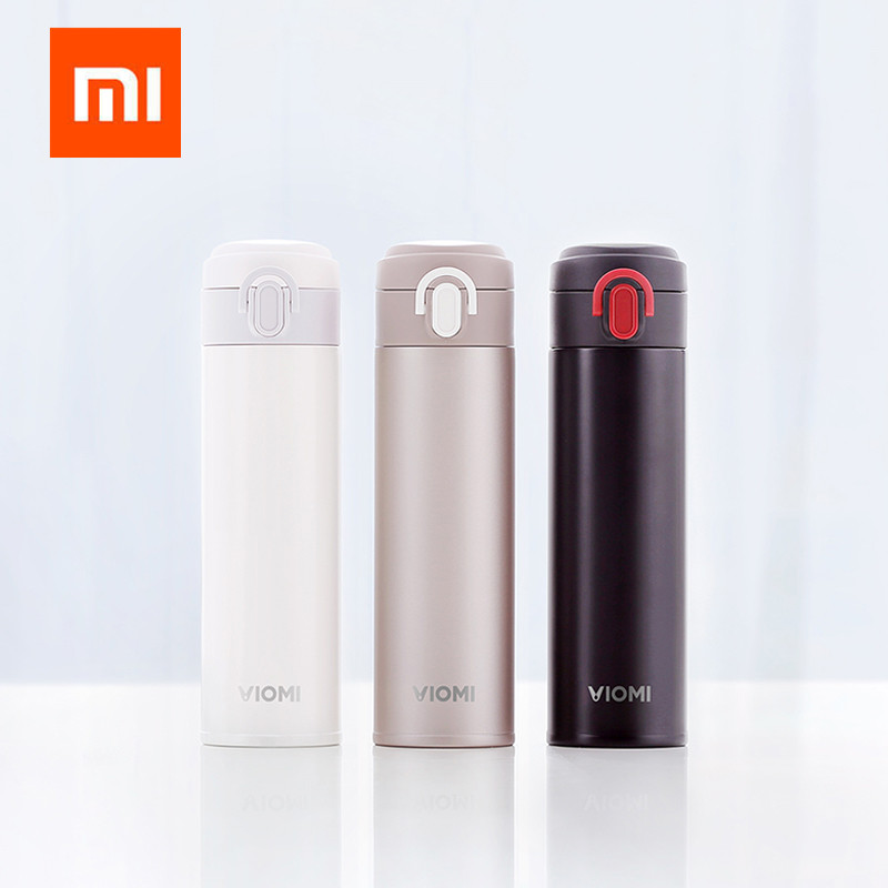 Original Xiaomi VIOMI Thermos Cup Stainless Steel Vacuum Cup Flask Water Bottle Cup 24 Hours Thermos 300ML Single Hand ON/Close stainless steel vacuum flask bottle reddish brown 500ml