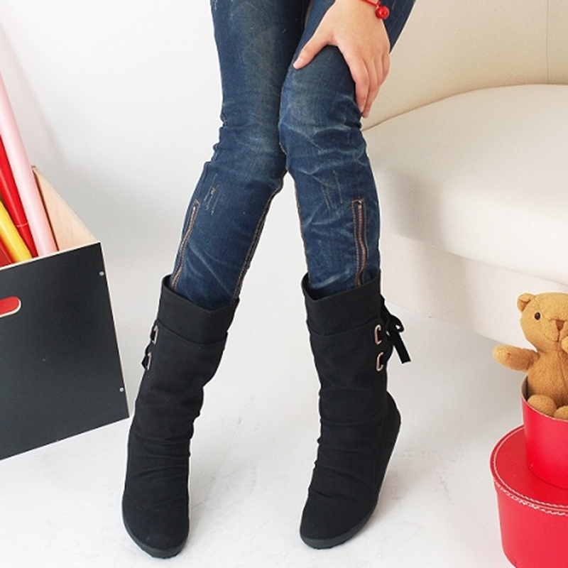 High Quality Women Snow Boots 2016 Autumn Winter Boots Lace Up Mid-Calf Casual Brand Winter Shoes Women's Boots Big Size 110 only true love high quality women boots winter snow boots