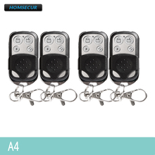 HOMSECUR 4Pcs A4 4CH Remote Control Keyfob For Our 433MHz Alarm System