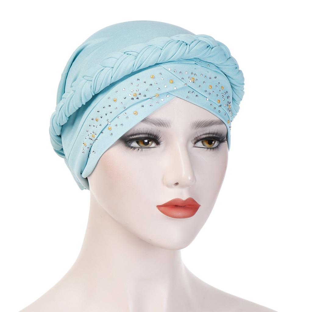 African Headwear Cap Muslim Turban Hair Accessories Fashion Women Solid Braided Bandanas Headwear New Hijab Hat