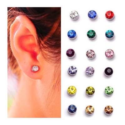 4mm 5mm 9 Colors Women Magnet Stud Earrings For Cz Crystal Clip Ear No