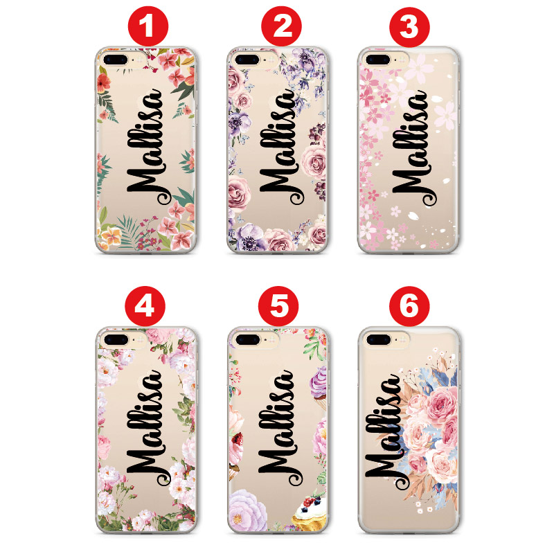 For iPhone 6 6S XS Max 7 7Plus 8 8Plus 5 X SAMSUNG S7 S8 S9 Floral Vintage Soft Personalized Custom Name Text Clear Phone Case in Fitted Cases from Cellphones Telecommunications