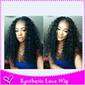 Freeshipping can part Synthetic Lace Front Black Women Long Kinky Curly Synthetic Wig Baby Hair Glueless Heat Resistant Lace Wig