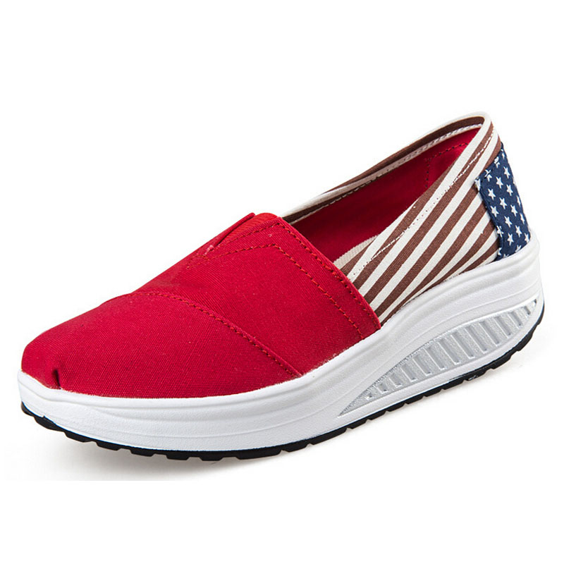 Shoes Woman Casual Wedge Bodybuilding Canvas Shoes Platform Women Fashion Shoes Summer Style Creepers Slip On Flats 5d28