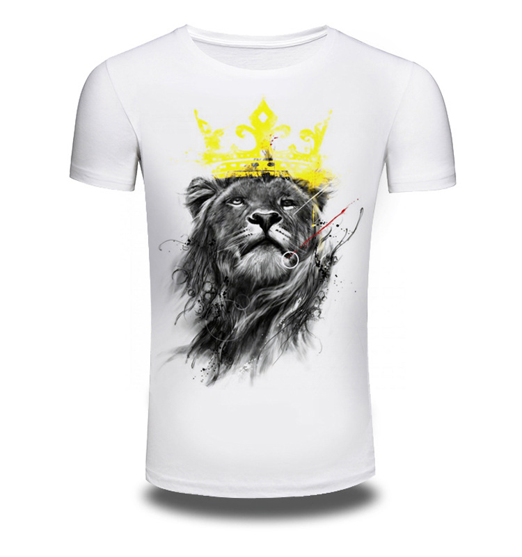 Men/Women Summer Fashion Short Sleeve Brand Clothing T Shirt 3D Print Shirt Lion T-shirt Animal White T-shirts Top Tee AW082