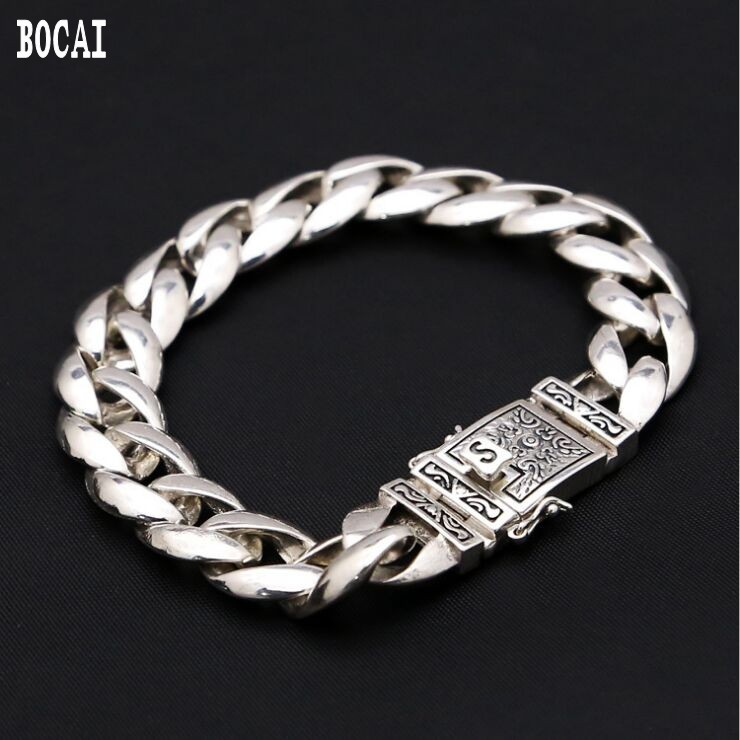 100% réel s925 en argent sterling rétro simple élégant plug totem hommes bracelet 12MM de large
