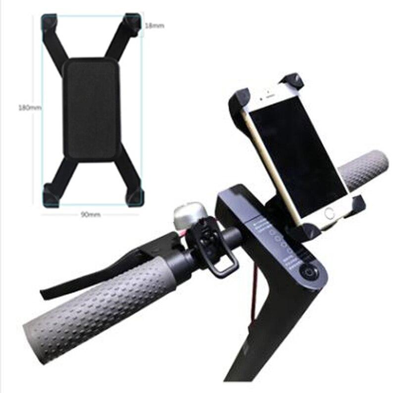 Ajustable Scooter teléfono titular de la barra de mano Clip de montaje para Xiaomi Mijia M365 monopatín eléctrico Qicycle EF1 bicicleta Anti-Slip