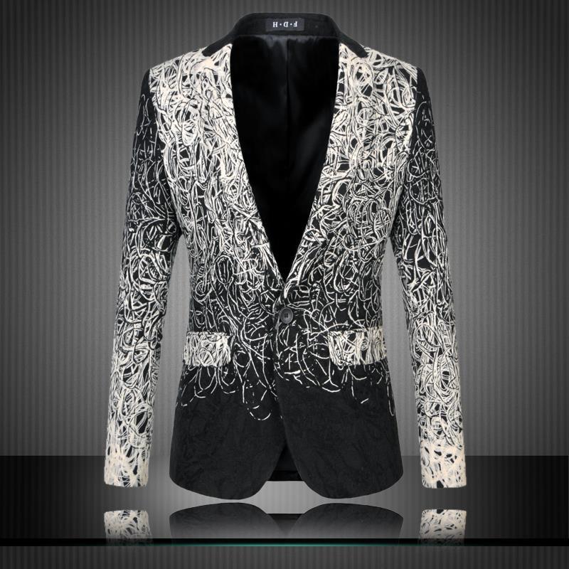 Mens Floral Noir Veste Homme Fit Jacket Black Costume M Men 6xl Casual Slim Designs 2017 Blazer Suit UwnEAqx4t