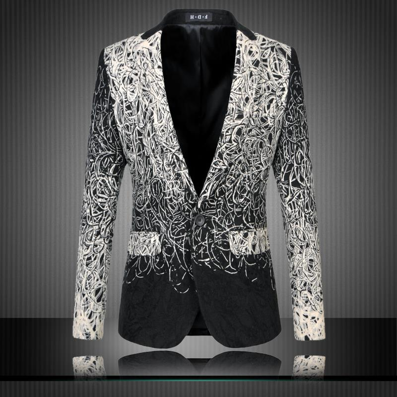 Loldeal 2018 mens floral blazer men blazer designs mens blazer jacket veste homme costume black casual suit men blazer slim fit