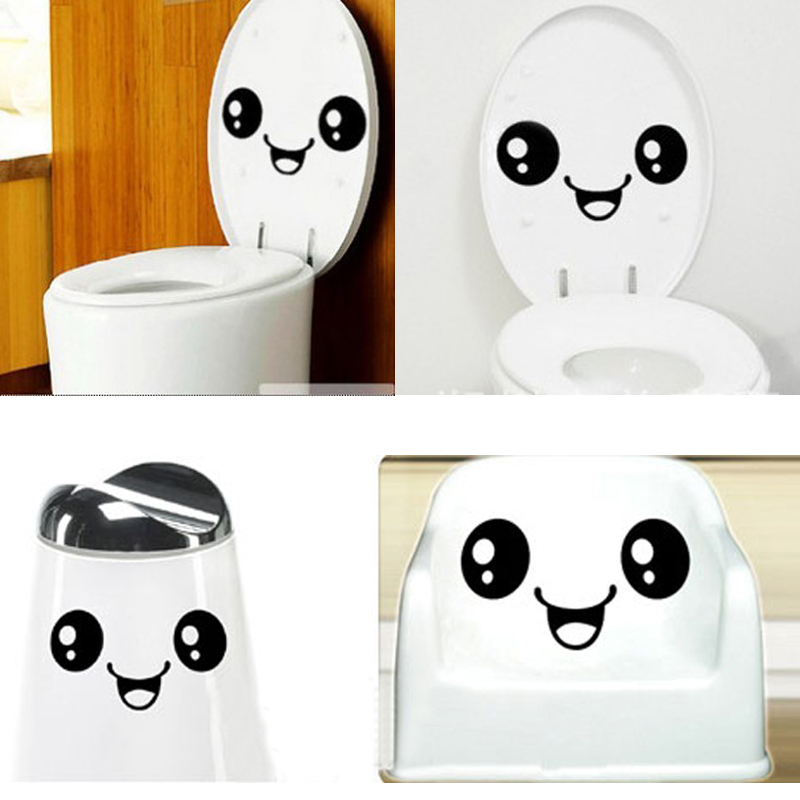Funny Stylish Smiling Face Toilet Wall Stickers For Kids Rooms Bathroom Home Decor Vinyl Wall Decals Art Diy Poster Wall Paper
