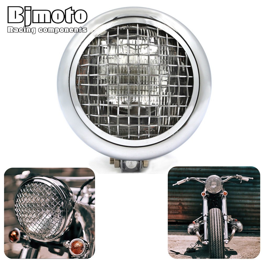 BJMOTO Motorcycle Headlight headlamp For Harley Honda Yamaha Suzuki Kawasaki Chopper Bobber Cafe Racer Touring Custom bike mayitr aluminium 5 motorcycle finned grill headlight for cafe racer bobber xs650 cb750 honda yamaha suzuki kawasaki