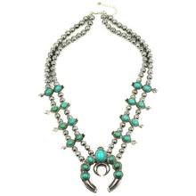 Venta de collar de flor de calabaza, collar de FLOR DE CALABAZA de piedra de plata Vintage N21789