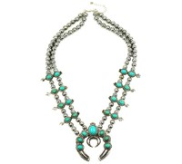 2016 Customized Design Most Selling Pumpkin Flower Necklace Vintage Silver Turquoise Squash Blossom Necklace N21789