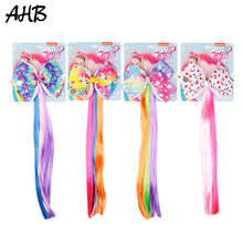 AHB Hot 4.5 Cute Unicorn Hair Clips Cartoon Print Bows for Girls with Rainbow Ponytail Wig Party Kids Accessories