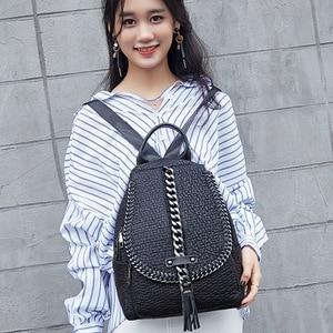 Image 3 - QINRANGUIO Mochila de piel auténtica con borlas para mujer, morral escolar con cadenas de diseño, para adolescentes, 2020