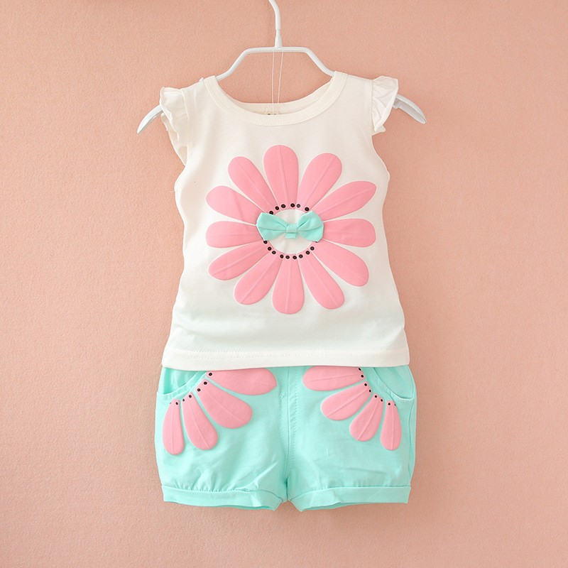 BibiCola summer sport suit baby girl kids clothes
