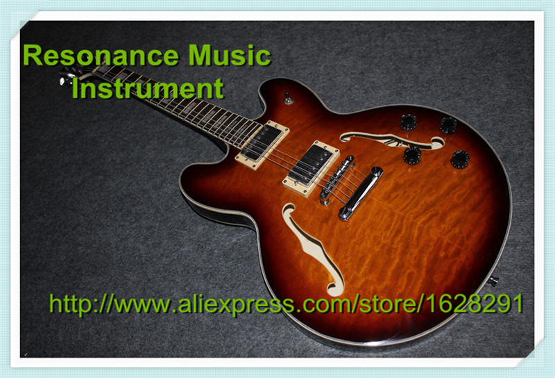 Top Quality Musical Instrument Vintage Sunburst Top Hollow Guitar Body ES 335 Classical China OEM Jazz Guitar high quality custom shop lp jazz hollow body electric guitar vibrato system rosewood fingerboard mahogany body guitar