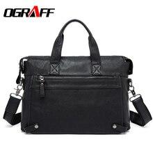OGRAFF Men Handbags Briefcase Genuine Leather Bag Men Messenger Bags Business Laptop Tote Bag Leather Shoulder Crossbody Bag Men
