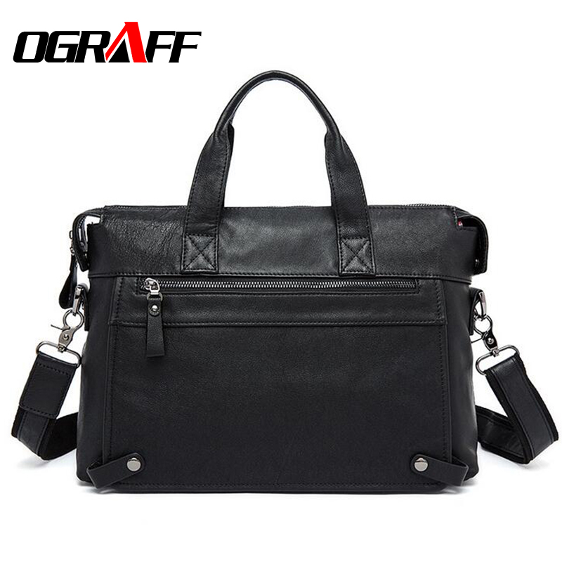 OGRAFF Men Handbags Briefcase Genuine Les