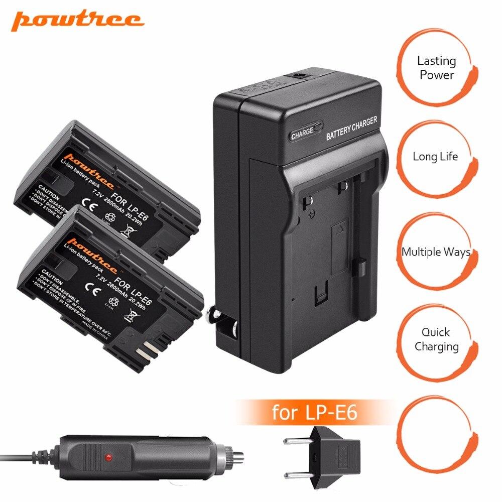 2X LP-E6 LPE6 LP E6 Rechargeable Caméra Batterie + Chargeur de Batterie pour Canon 5D Mark II Mark III EOS 6D 7D 60D 70D 80D DSLR L10