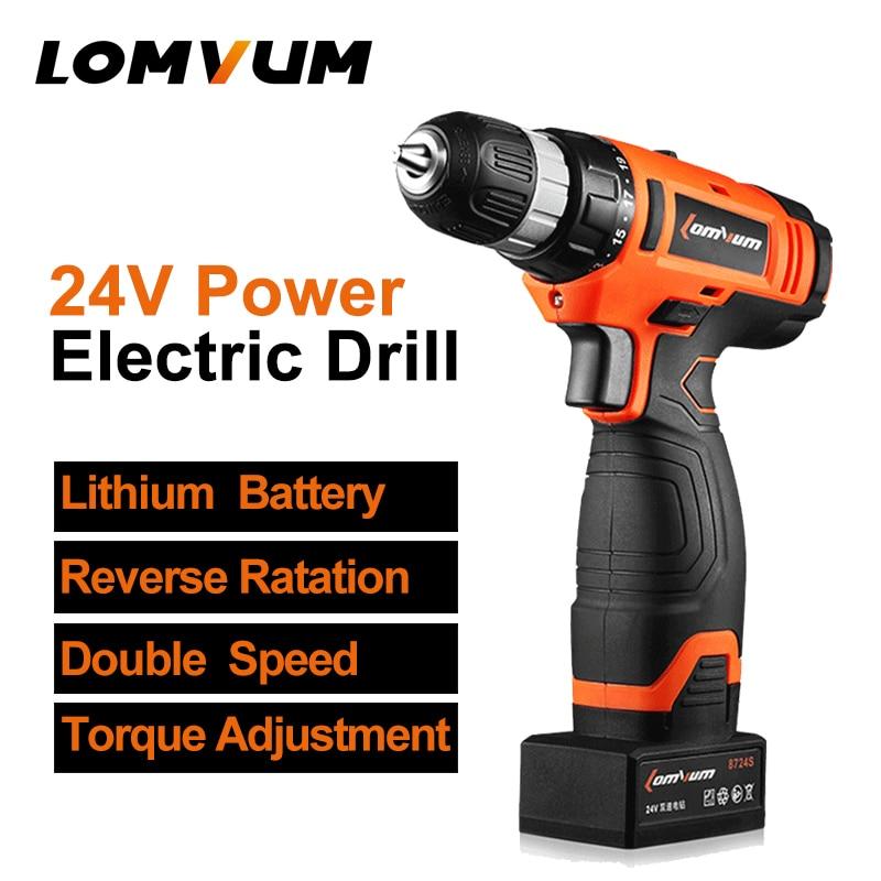LOMVUM Cordless 24V Puncher Electric Drill Adjustable speed handheld mini screwdriver Recharge Li-ion battery electric tool bosch bgl35mov14