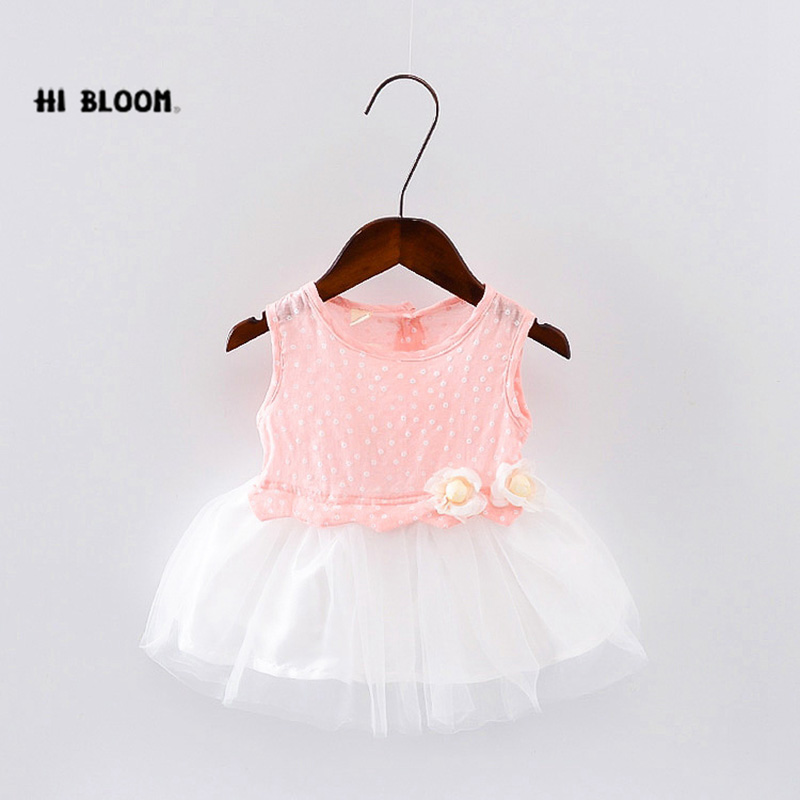 2017 Summer Little Girls Dresses Toddle Tuller Mesh With White Flowers Baby Girl Tutu Dress Kids Clothes Princess Dress Hot