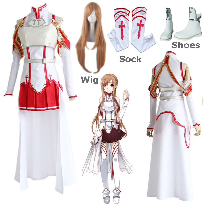 Anime Sword Art Online Asuna Yuuki Dress Uniform Outfit Party Cosplay Costume