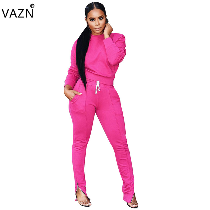 VAZN Autumn 2019 New Hot Casual Brand Fashion 2 Piece Set Solid O-Neck Full Sleeve Long Pants Lady Bodycon Tracksuit Set ARM8028
