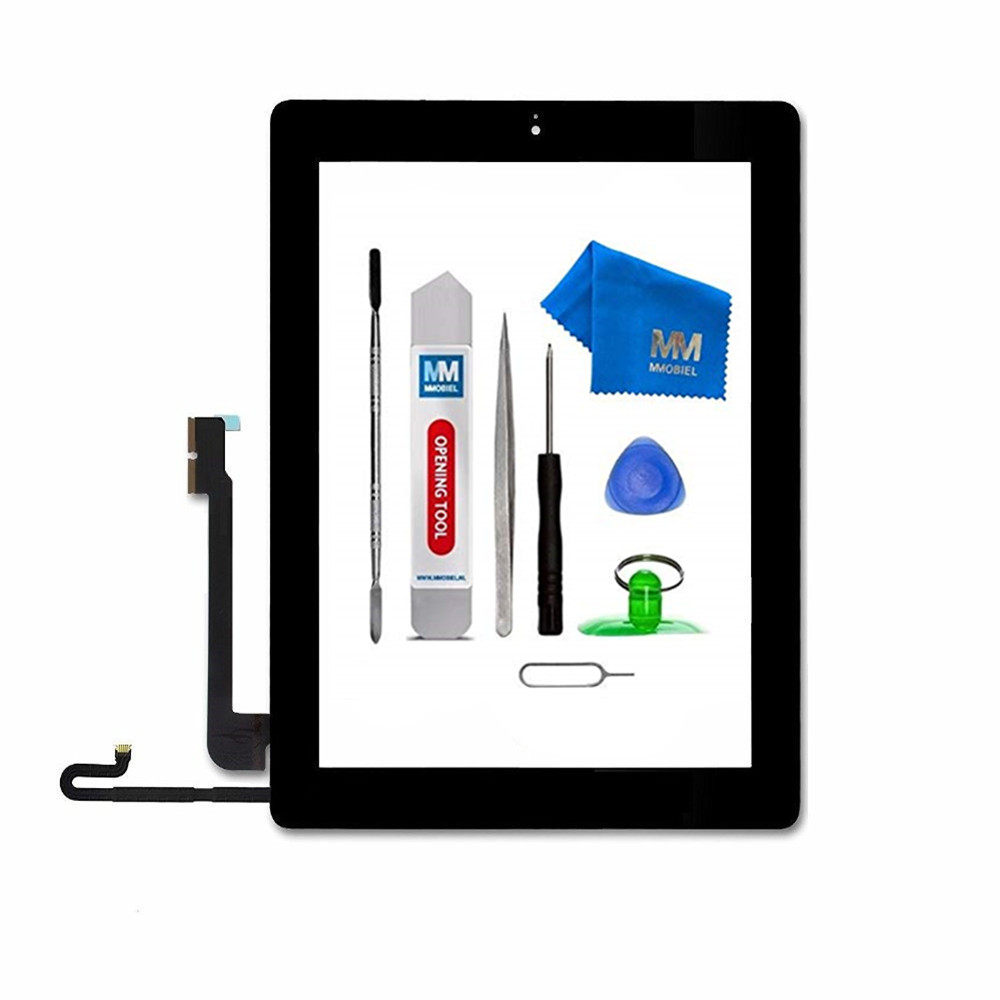 MMOBIEL For IPAD 4 white/black Digitizer Touch Screen Front Glass Display Assembly Includes Home Button and flex/Camera Holder