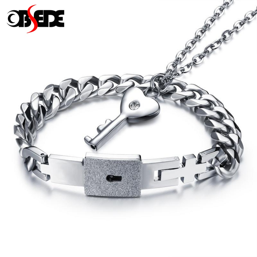 OBSEDE Titanium Steel Jewelry Sets for Women Men Concentric Lock Pendant Necklace Bracelet Bangle Lovers Couple Fashion Gifts