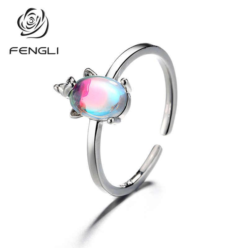 FENGLI 925 пробы серебро Простой натуральный камень лунный камень женские кольца для девочек модные праздничные ювелирные изделия Единорог Кристалл ювелирные изделия