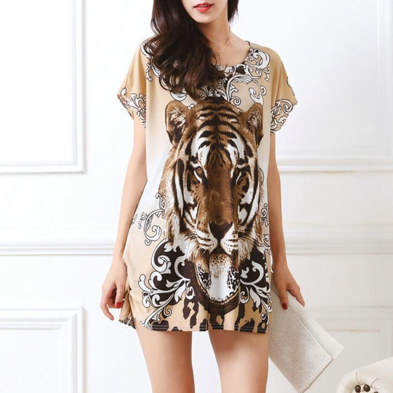 Baru musim panas musim semi 2017 Fashion Wanita Gaun lengan pendek Plus Ukuran Gaun Longgar Cetak tunik kasual tops L-5XL tiger leopar