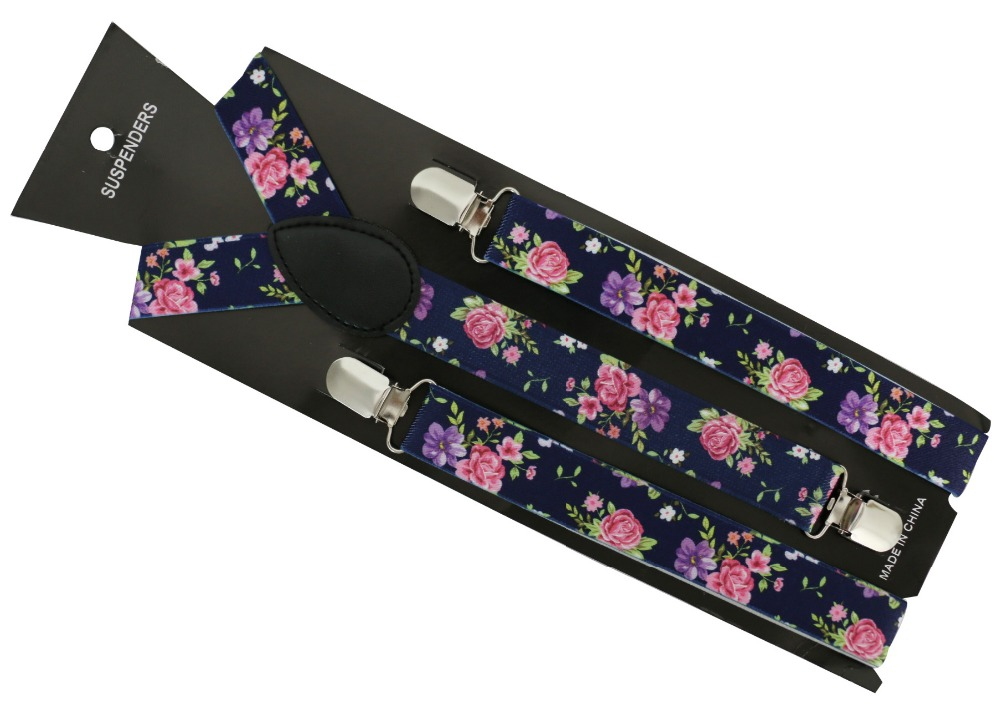 Free Shipping 2019 New Fashion Women 2.5cm Wide Navy Floral Printed Suspenders Braces