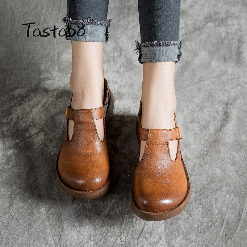 Tastabo Muffin bottom Woman Shoes 2019 Spring and summer new style Vintage handmade shoes Casual fashion