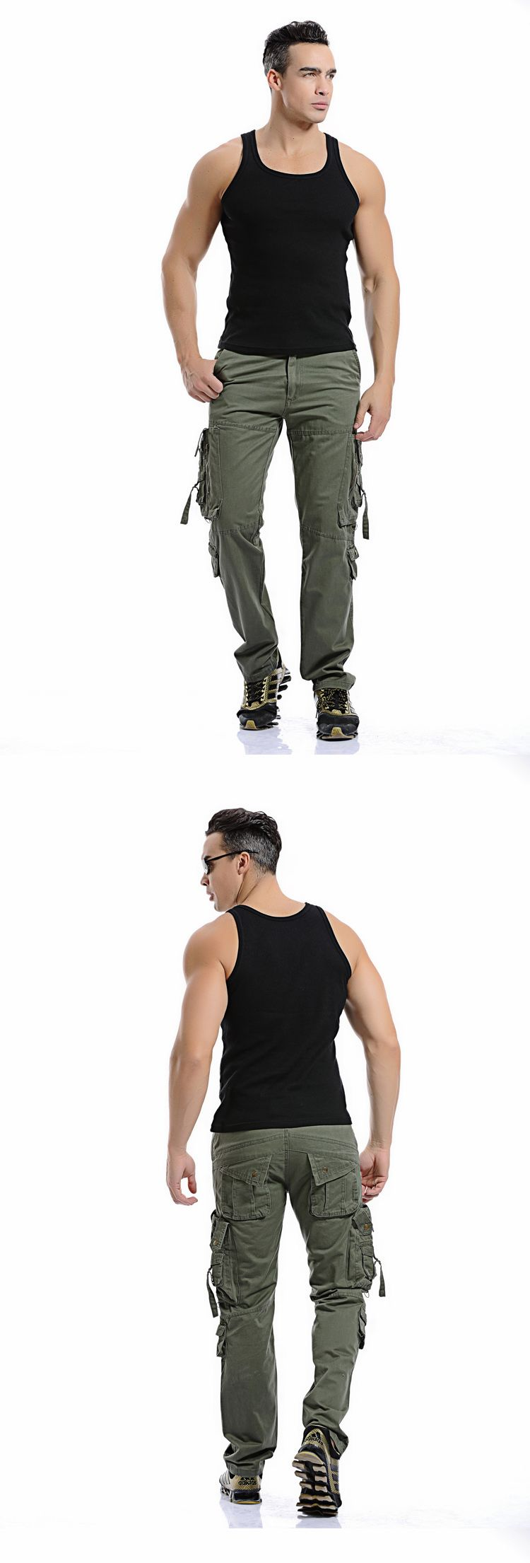 MIXCUBIC 2019 spring Autumn army tactical pants Multi-pocket washing loose army green cargo pants men casual Tooling pants 28-42 4