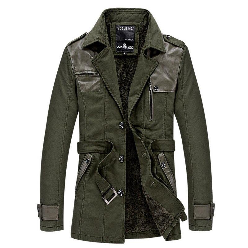 Тренч Для мужчин теплая зимняя хлопковая парка Для мужчин S сращены Кожа отложной воротник Куртки Для мужчин S толстый бархат Тренч пальто