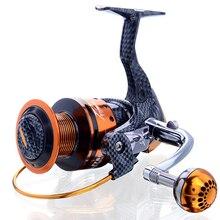 Deshion 13BB Carbon Fiber Spinning Fishing Reel 6000 Series Waterproof Tackles Wheels with Metal Spool
