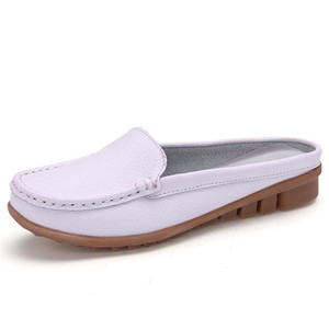 Image 3 - BEYARNE hot summer genuine leather slippers for women shoes flat with low heel sandals comfortable four colours shoes women