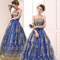 2017 vestido de novia tubo superior azul marino vestido de noche largo del diseño