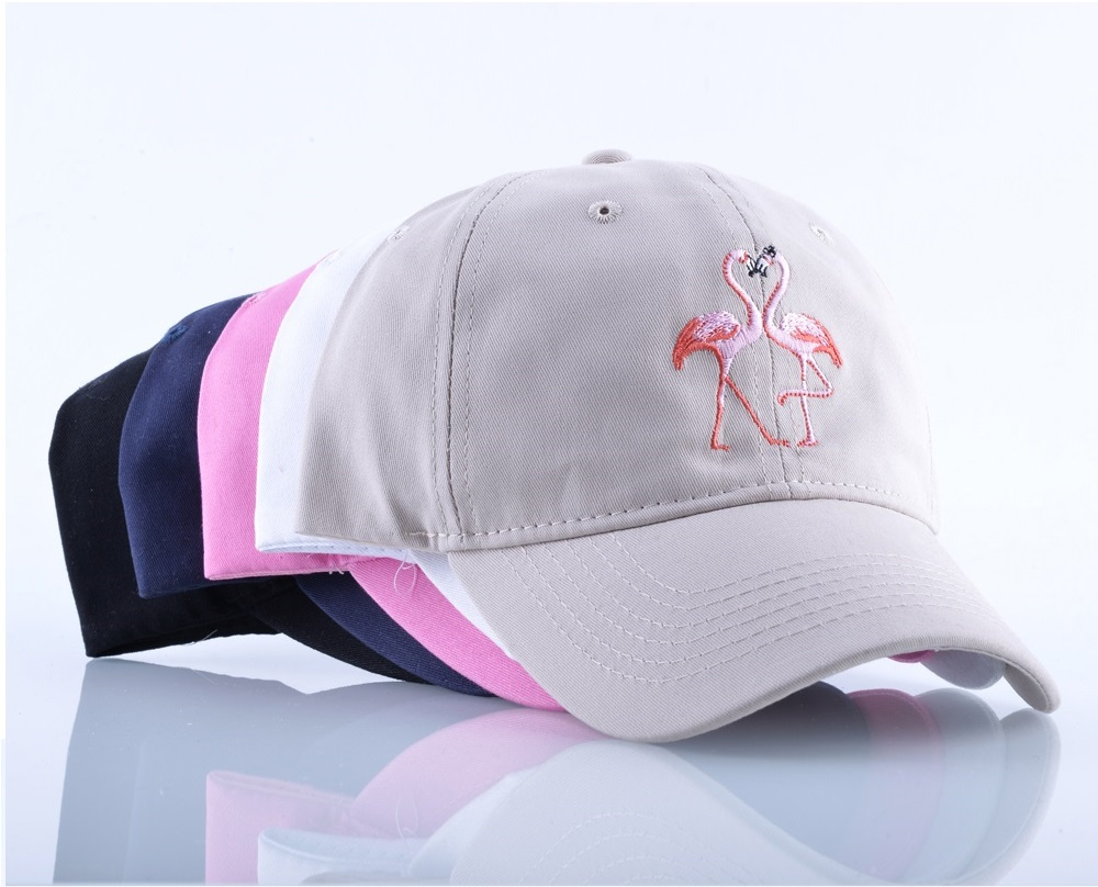 New Embroidery Double Pink Flamingo Profile Hip Hop Baseball Cap Curved  Bill Dad Hats Unstructured Bone Snapback Caps Gorras