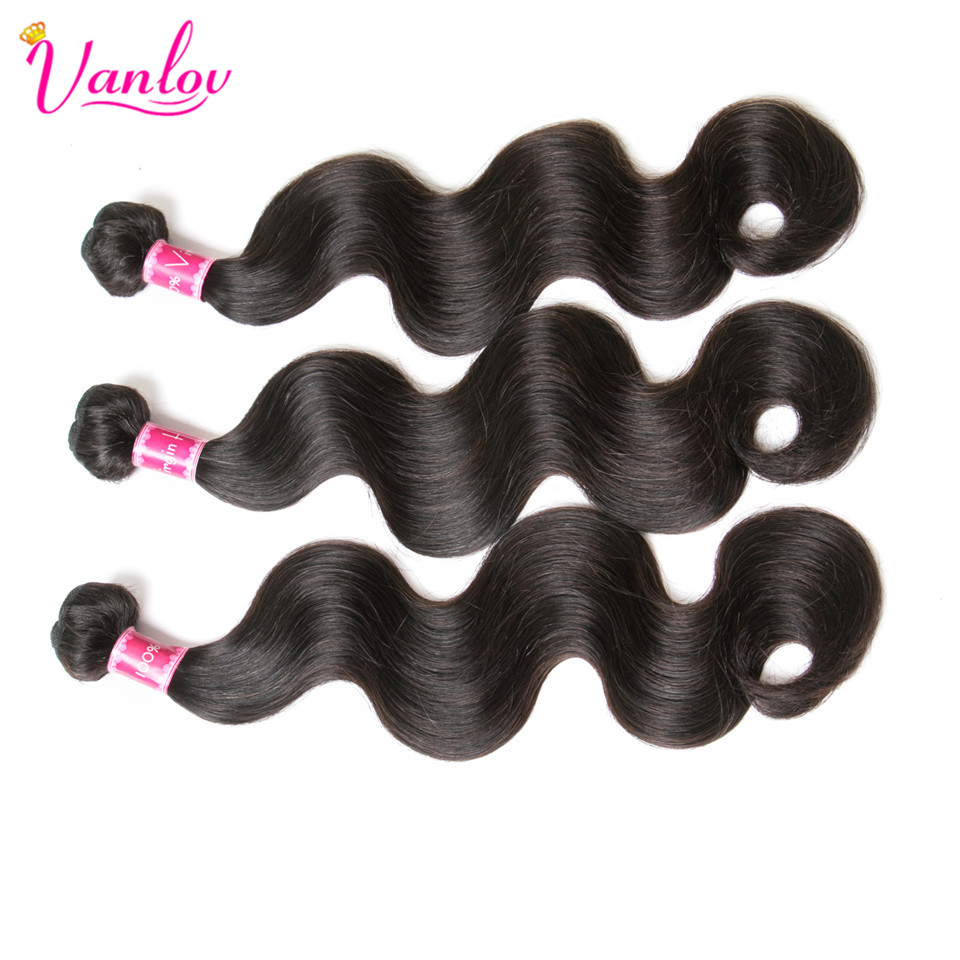 Vanlov 3 перуанский Связки с закрытием перуанский объемная волна расслоения с 4*4 закрытия шнурка бесплатная часть человеческих волос пучки