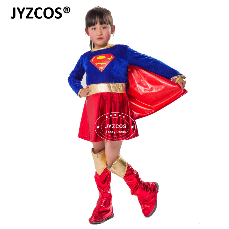JYZCOS Halloween Carnival Purim Superman Print Cosplay  girls Costume Dress  Supergirl Cosplay Superhero Fancy  Dress for kids